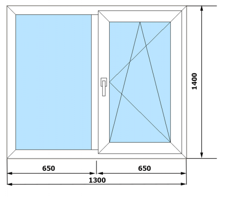 Окна ПВХ VEKA Euroline 3 камеры (1300*1400)