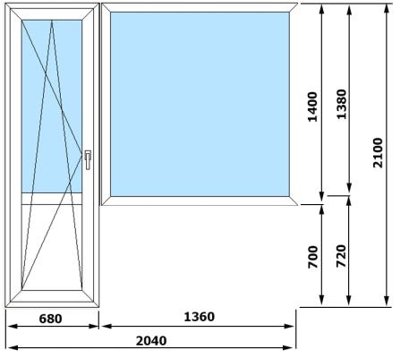 Окна ПВХ VEKA Euroline 3 камеры (2040*2100)