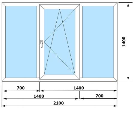 Окна ПВХ VEKA Euroline 3 камеры (2040*1400)